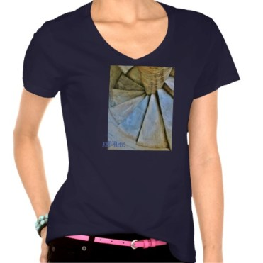 Leaning Tower of Pisa Spiral Staircase, Women, Hanes Nano V-Neck T-Shirt, Front, Navy Blue